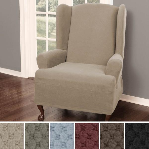 Shop Maytex Pixel Stretch 1 Piece Wing Back Arm Chair