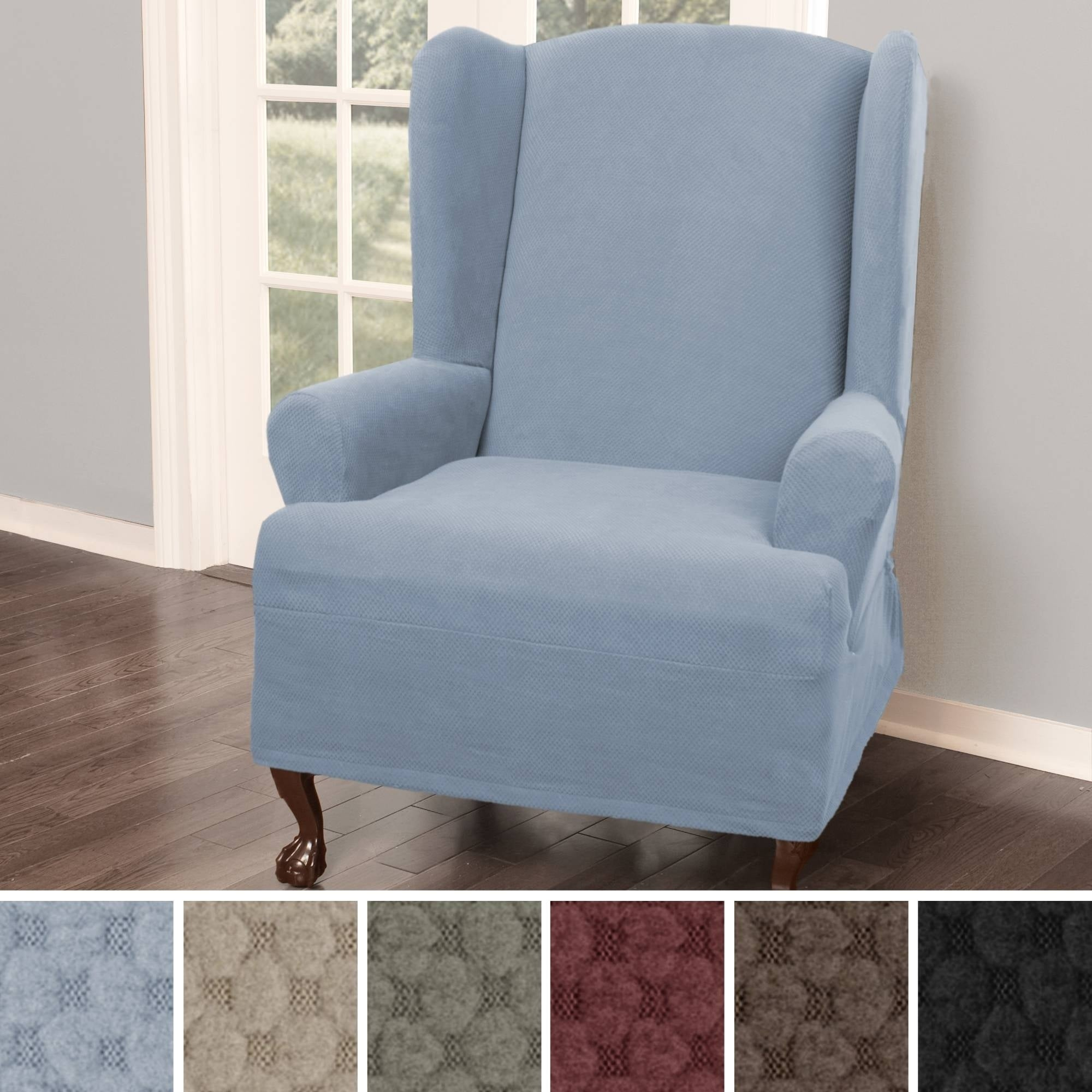 Awe Inspiring Maytex Pixel Stretch 1 Piece Wing Back Arm Chair Slipcover Pdpeps Interior Chair Design Pdpepsorg