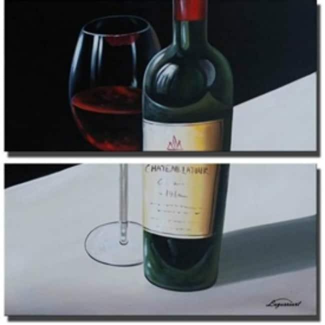 Sophia Lazarri 'Burgundy Paradise' Hand-painted Canvas Art