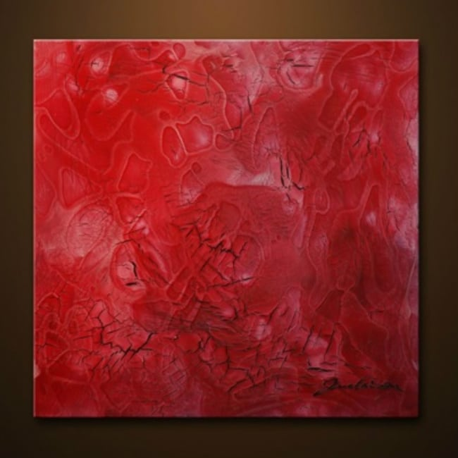 Sophia Lazarri 'Cracked Petals' Hand-painted Canvas Art