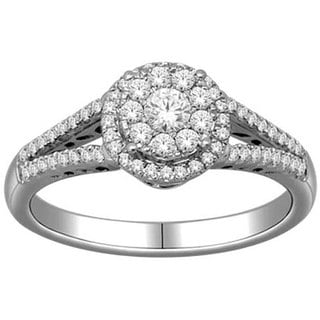 De Couer 10k White Gold 1/2ct TDW Round Multi Stone Diamond Ring
