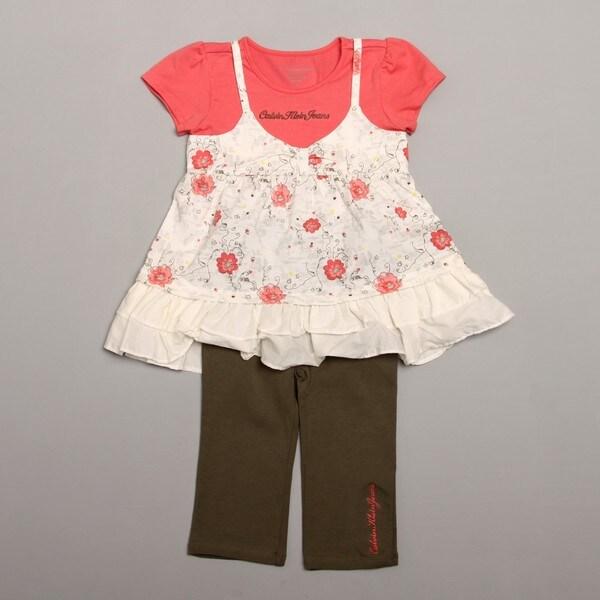 Calvin Klein Girl's Coral Top and Legging Set