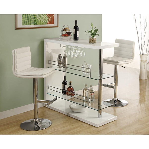 White/ Chrome Metal Hydraulic Lift Barstools (Set of 2)