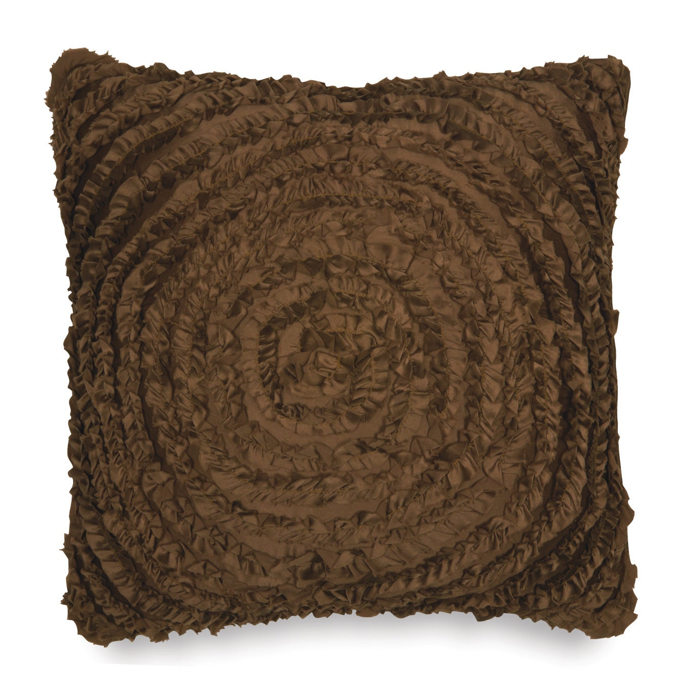 Victoria Dupioni Silk Brown Ruffles Throw Pillow