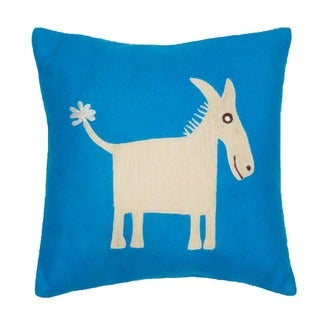 Donkey Applique Decorative Wool Pillow