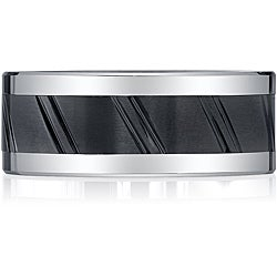 Black Ceramic and Cobalt Rivet Band by Spartan Jewelry