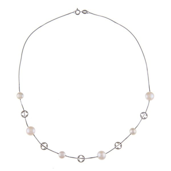 Kabella Sterling Silver Freshwater Pearl and Open Clover Necklace (8-9 mm)