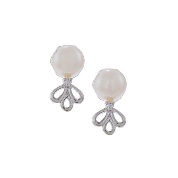 Kabella Sterling Silver FW Pearl and Cubic Zirconia Open Fan Stud Earrings (7-8 mm)