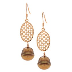 Kabella Sterling Sliver Brown FW Pearl Wire Blall Earrings (7-8 mm)