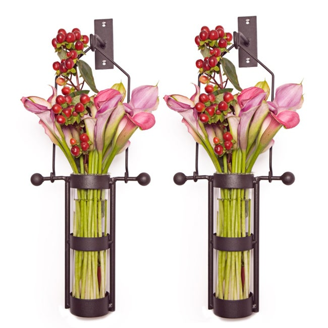 Wall Mount Hanging Glass Cylinder Vase Set with Metal Cradle and Hook - Thumbnail 0