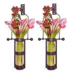 Wall Mount Hanging Glass Cylinder Vase Set with Metal Cradle and Hook - Thumbnail 1
