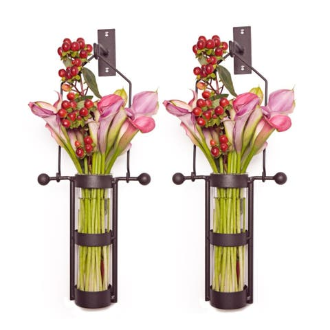 Wall Mount Hanging Glass Cylinder Vase Set with Metal Cradle and Hook