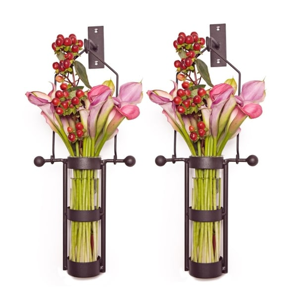 Wall Mount Hanging Glass Cylinder Vase Set with Metal Cradle and Hook. Opens flyout.