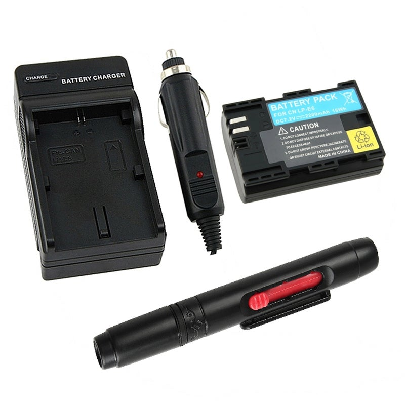 INSTEN Battery/ Charger/ Lens Cleaning Pen for Canon LP-E6
