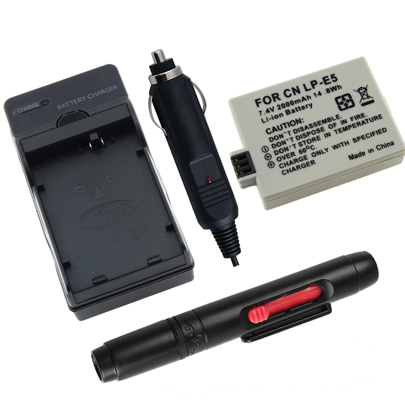 INSTEN Battery/ Charger/ Lens Cleaning Pen for Canon LP-E5 EOS Rebel Xsi 450D