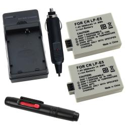 INSTEN Batteries/ Charger/ Lens Cleaning Pen for Canon LP-E5 Rebel Xsi 450D