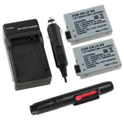 INSTEN Two Batteries/ Charger/ Camera Lens Cleaning Pen for Canon LP-E8 T2i