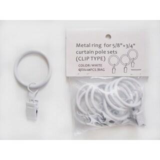 White-Clip Rings for Children's Extendable Drapery Pole Set or Modern Drapery Set (Set of 10) - for 1-3/8 inches drapery poles