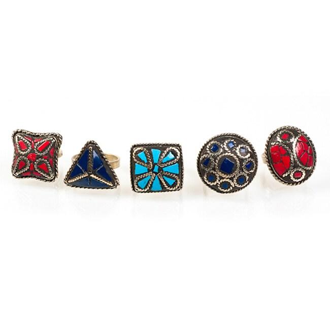 Handmade Goldtone Inlaid Stone Ring (India)