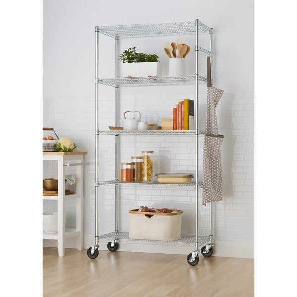 Shop Trinity 36-inch NSF Chrome Wire Shelving Rack - Free Shipping ...