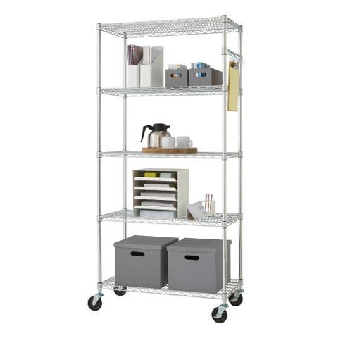 "Trinity EcoStorage 36"" x 16"" x 72"" Wire Shelving Rack, NSF Certified, Chrome"