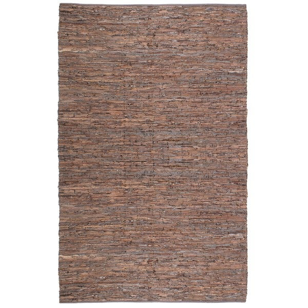 Handwoven Matador Brown Leather Area Rug (9' x 12') - 9' x 12'