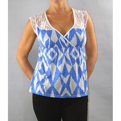 Institute Liberal Women's Blue and White Lace Shoulder Yoke Blouse