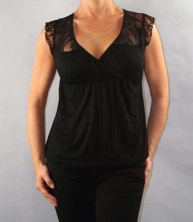 Institute Liberal Women's Black Lace Shoulder Yoke Blouse