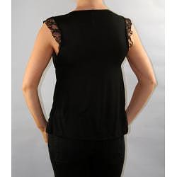 Institute Liberal Women's Black Lace Shoulder Yoke Blouse - Thumbnail 1
