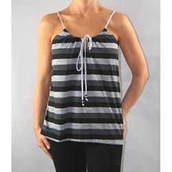 Institute Liberal Women's Black/ Grey Striped Tank Top