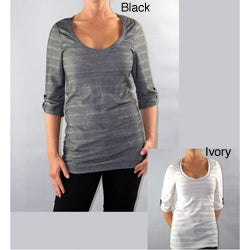 Institute Liberal Scoop Neck 3/4-Length Sleeve Pullover Top