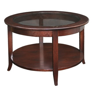 Solid Oak Chocolate Bronze Round Coffee Table