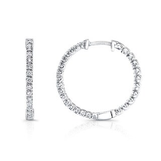 Auriya 14k White Gold 1/2ct TDW Diamond 23MM Hoop Earrings