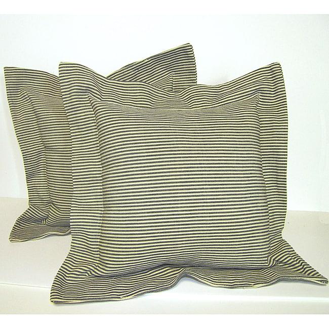 Green Flanged Ticking Stripe Pillow (Set of 2)