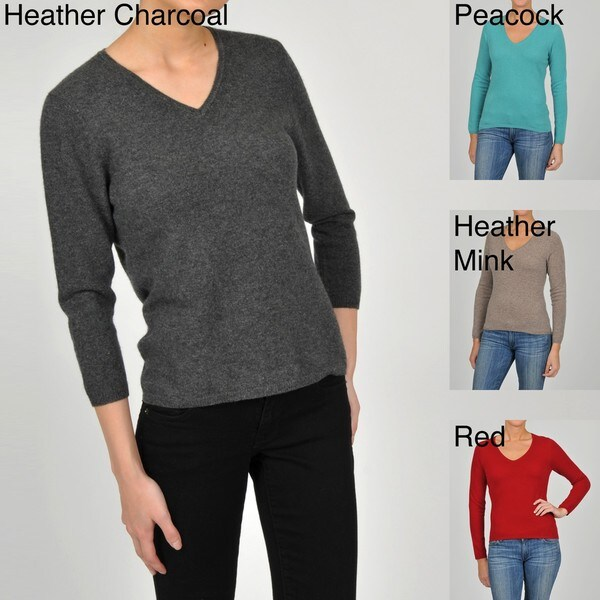 In Cashmere Women's Cashmere V-neck 3/4-sleeve Sweater