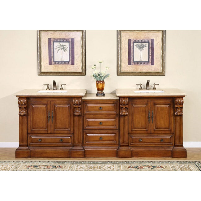 Silkroad Exclusive 95 Inch Travertine Stone Top Bathroom Double Vanity Free Shipping Today