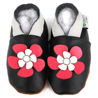 Black Hawaii Flower Soft Sole Leather Slip-On Baby Shoes