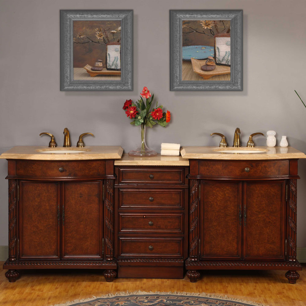 Silkroad Exclusive 84 Inch Travertine Double Vanity With