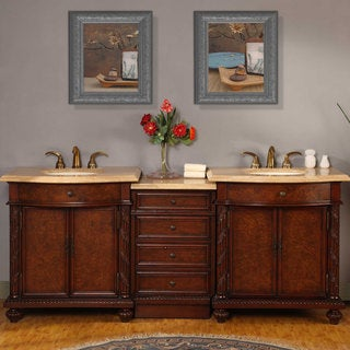 Silkroad Exclusive 84-inch Travertine Double Vanity with LED Lighted Cabinet