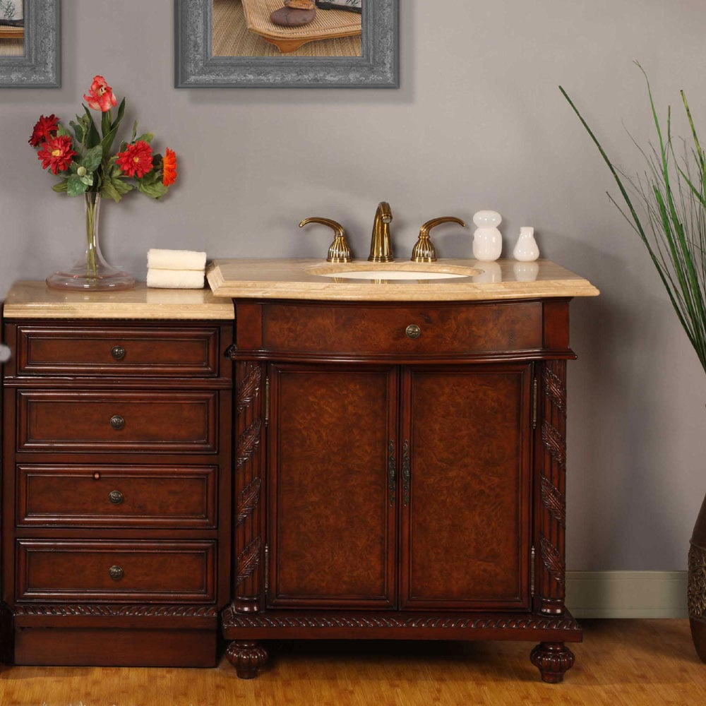 Silkroad Exclusive 52-inch Travertine Bathroom Vanity with LED Lighted Cabinet
