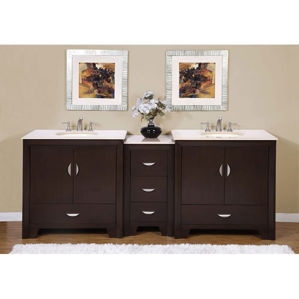 Silkroad Exclusive 89 Inch Marble Top Double Vanity