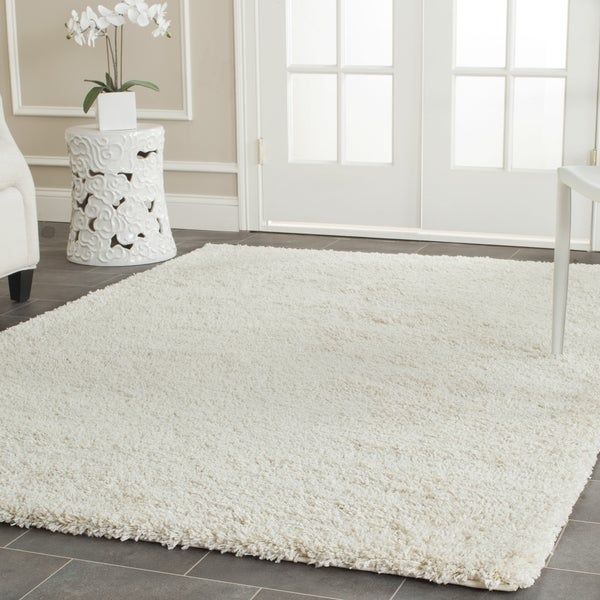 Safavieh California Cozy Solid Ivory Shag Rug (6' 7 Square)