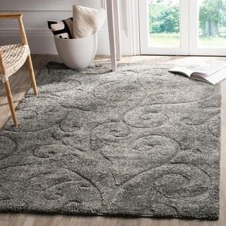 Safavieh Florida Shag Scrollwork Dark Grey Area Rug (8'6 x 12')