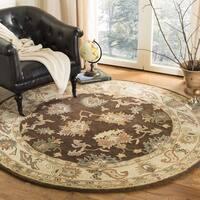 Safavieh Handmade Zeigler Brown/ Ivory Hand-spun Wool Rug - 4' x 4' Round