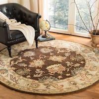 Safavieh Handmade Zeigler Brown/ Ivory Hand-spun Wool Rug - 6' x 6' Round