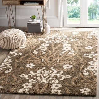 Safavieh Florida Shag Smoke/ Beige Damask Area Rug (8'6 x 12')