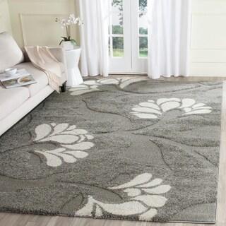 Safavieh Florida Shag Dark Grey/Beige Floral Area Rug (8'6 x 12')