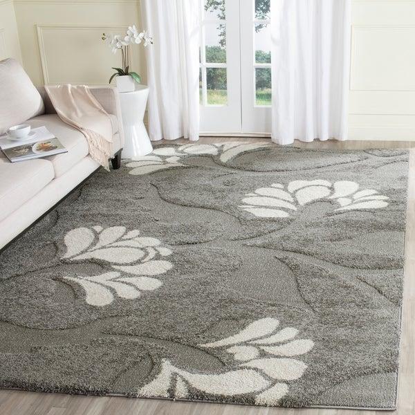 Safavieh Florida Shag Dark Grey/Beige Floral Area Rug - 8'6 x 12'