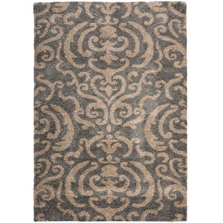 Safavieh Florida Shag Ornate Grey/ Beige Damask Area Rug (8'6 x 12')