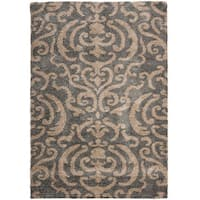 Safavieh Florida Shag Ornate Grey/ Beige Damask Area Rug - 8'6 x 12'